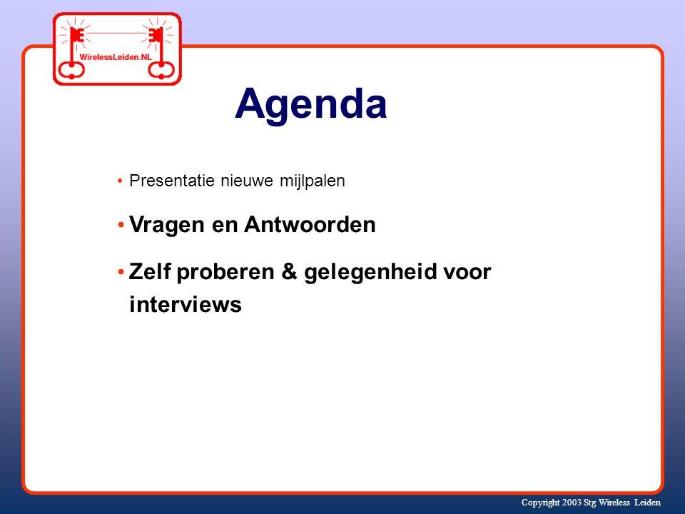 Copyright 2003 Stg Wireless Leiden Agenda Presentatie nieuwe mijlpalen Vragen en Antwoorden Zelf proberen & gelegenheid voor interviews