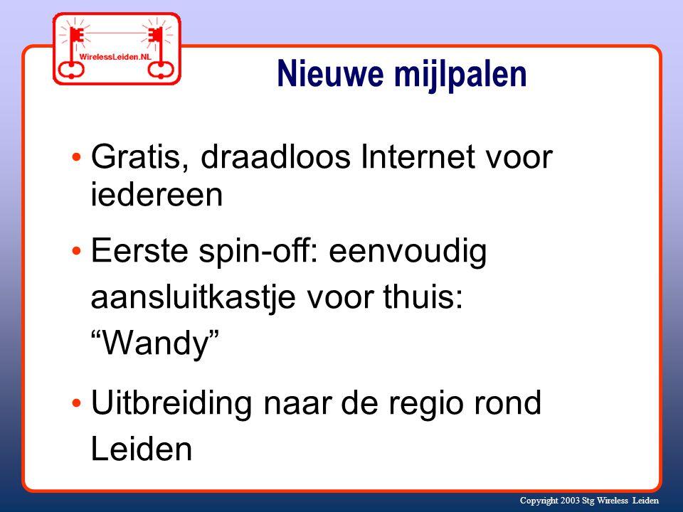 Nieuwe mijlpalen Gratis, draadloos Internet voor iedereen Eerste spin-off: eenvoudig aansluitkastje voor thuis: Wandy Uitbreiding naar de regio rond Leiden