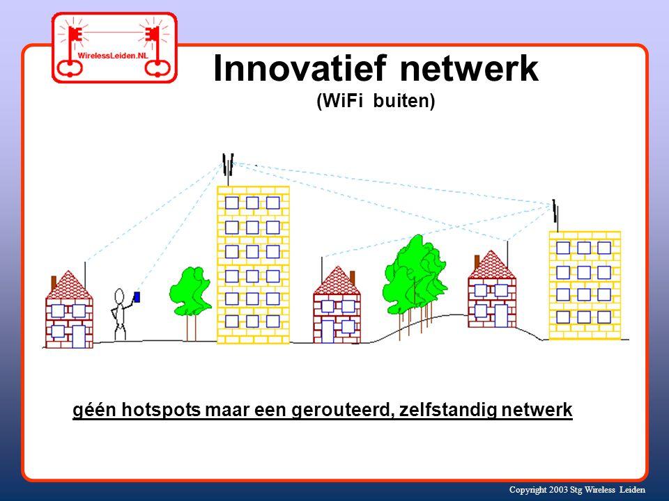 Copyright 2003 Stg Wireless Leiden Innovatief netwerk (WiFi buiten) géén hotspots maar een gerouteerd, zelfstandig netwerk