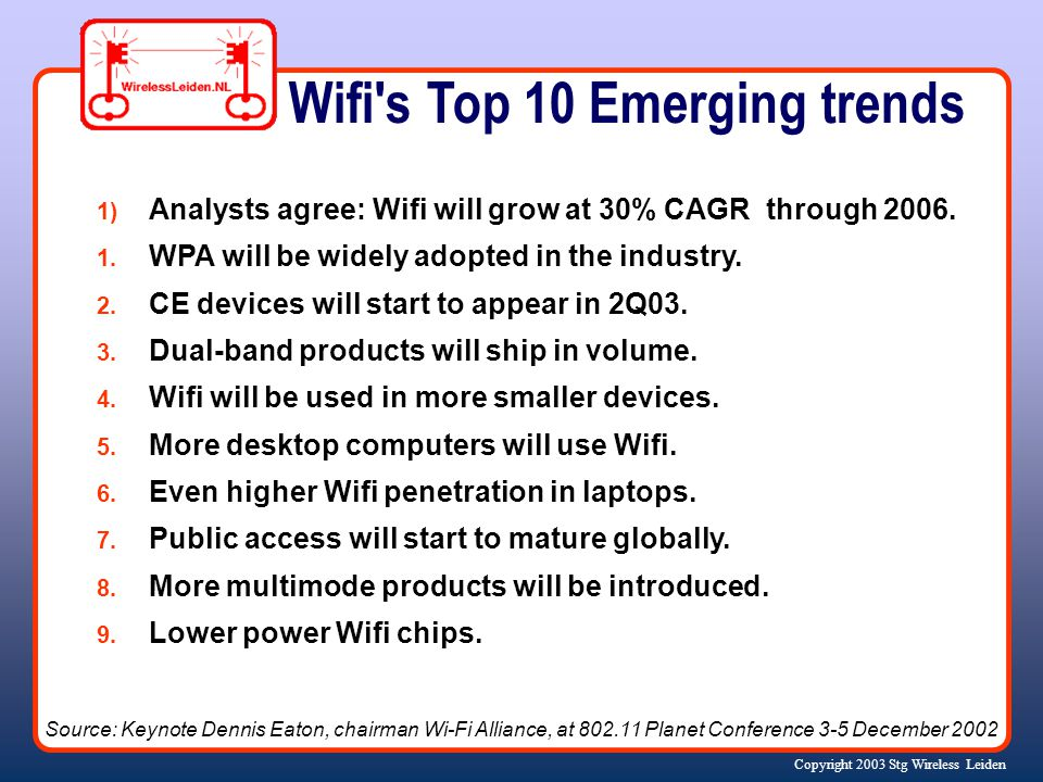 Copyright 2003 Stg Wireless Leiden Wifi's Top 10 Emerging trends 1) Analysts agree: Wifi will grow at 30% CAGR through 2006. 1. WPA will be widely ado