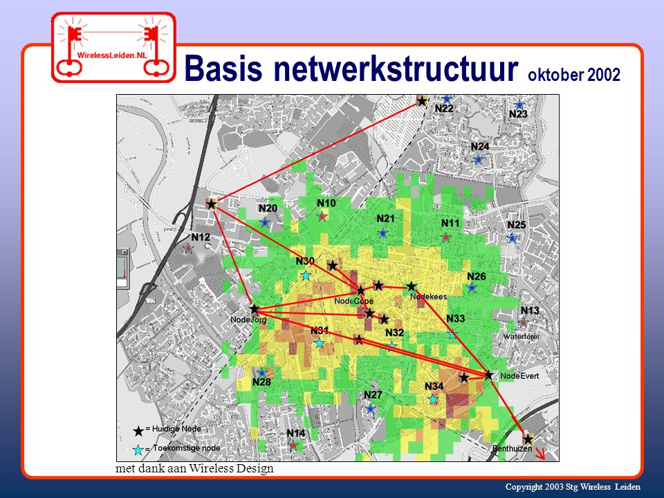 Copyright 2003 Stg Wireless Leiden Basis netwerkstructuur oktober 2002 met dank aan Wireless Design