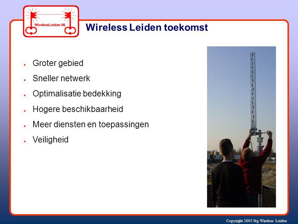 Copyright 2005 Stg Wireless Leiden ● Groter gebied ● Sneller netwerk ● Optimalisatie bedekking ● Hogere beschikbaarheid ● Meer diensten en toepassingen ● Veiligheid Wireless Leiden toekomst