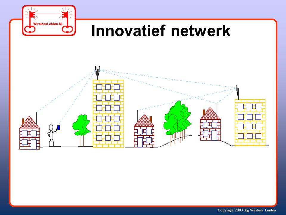 Copyright 2003 Stg Wireless Leiden Missie: een eigen, open, snel en goedkoop draadloos computer- netwerk voor Leiden en omgeving