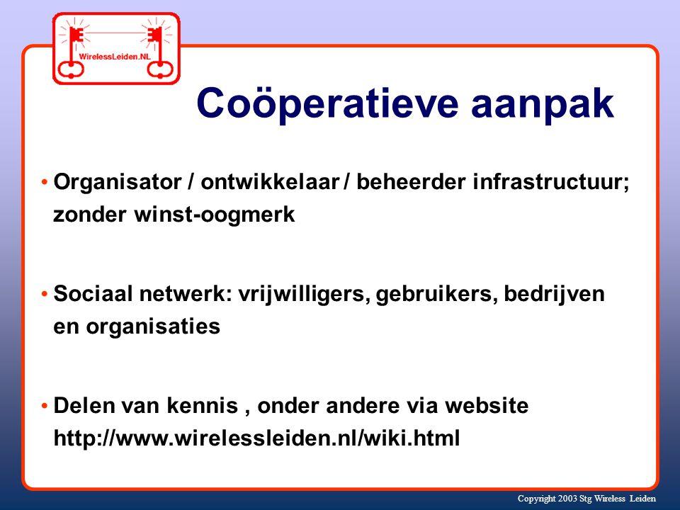 Copyright 2003 Stg Wireless Leiden Twaalftal (+!) professionele hobbyisten Kennis ontwikkelen, experimenteren Open standaarden / open software Goedkope hardware ('WiFi' standaard) Vrije 'WiFi' frequenties Coöperatieve, planmatige aanpak Veel enthousiasme Hoe doen we dat