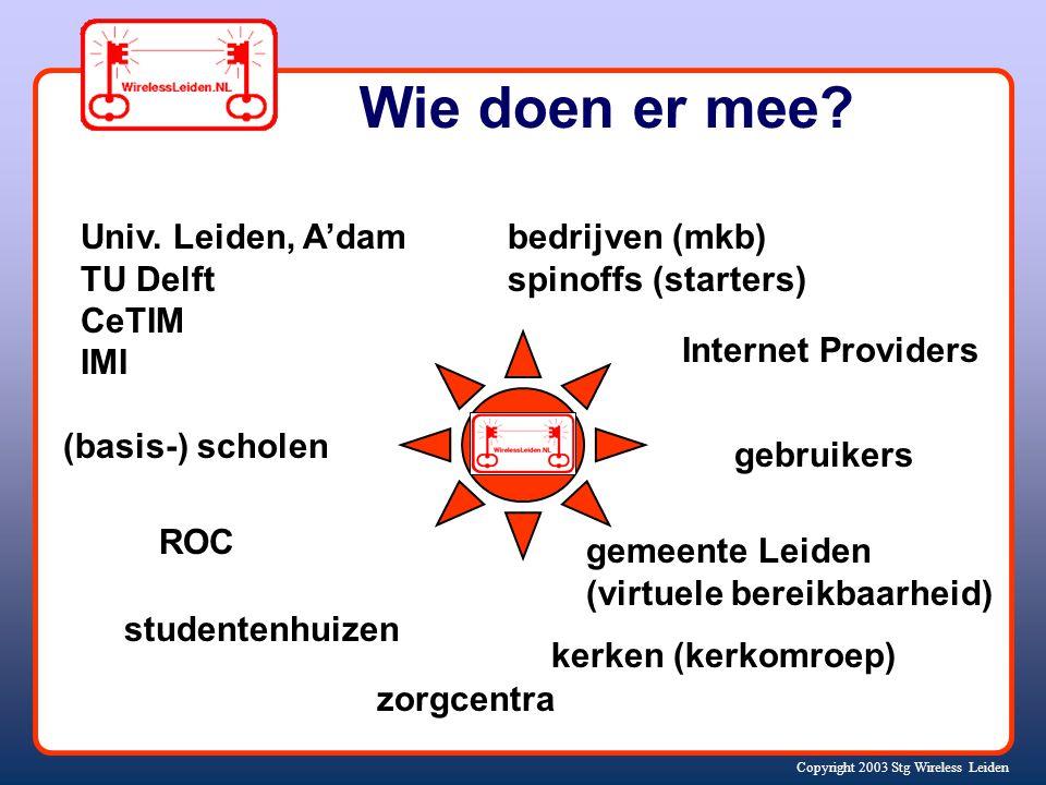 Copyright 2003 Stg Wireless Leiden Coöperatieve aanpak Organisator / ontwikkelaar / beheerder infrastructuur; zonder winst-oogmerk Sociaal netwerk: vrijwilligers, gebruikers, bedrijven en organisaties Delen van kennis, onder andere via website http://www.wirelessleiden.nl/wiki.html