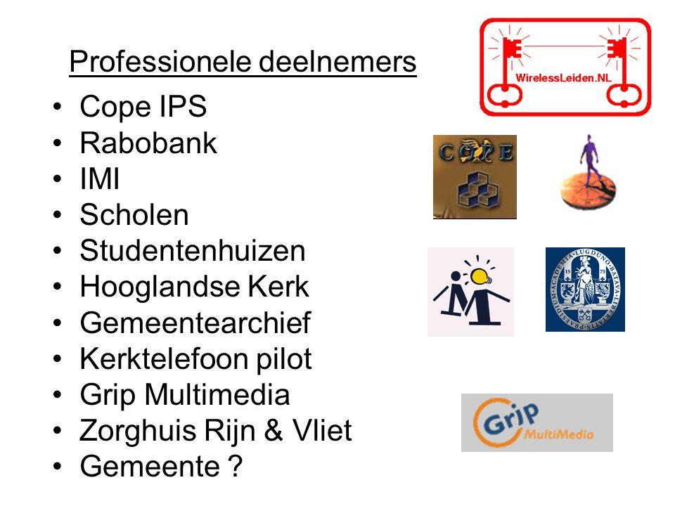 Professionele deelnemers Cope IPS Rabobank IMI Scholen Studentenhuizen Hooglandse Kerk Gemeentearchief Kerktelefoon pilot Grip Multimedia Zorghuis Rij
