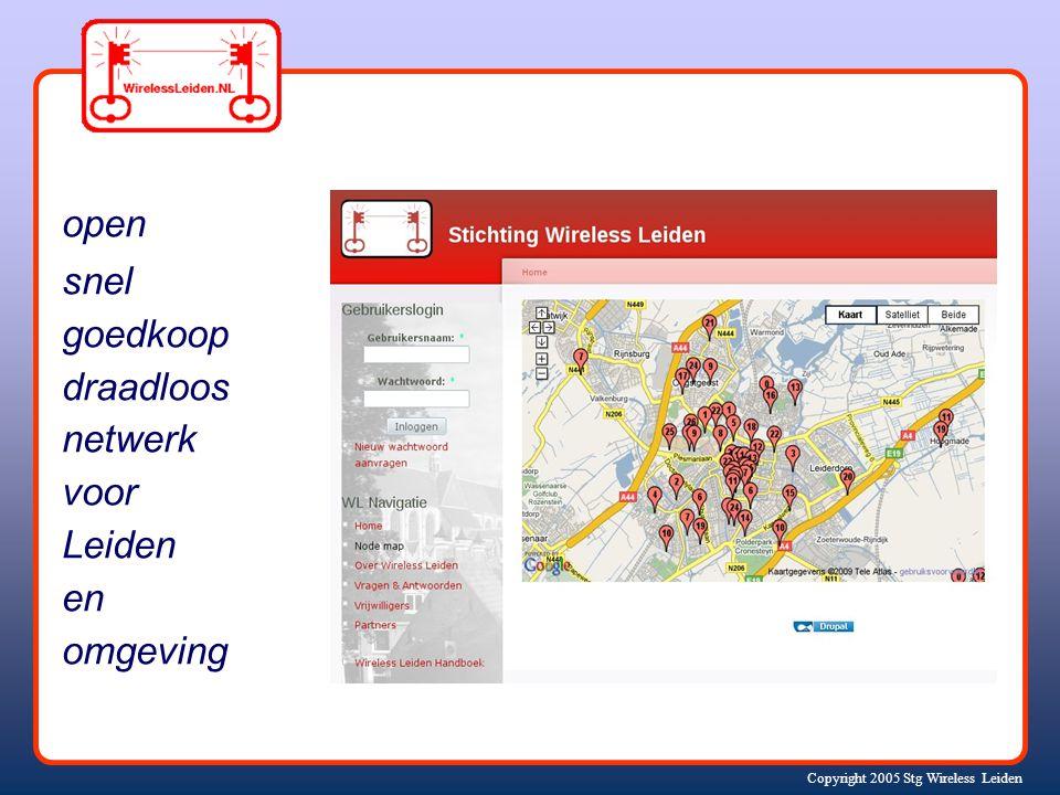 Copyright 2005 Stg Wireless Leiden een lokaal buurt-netwerk (+ internet)