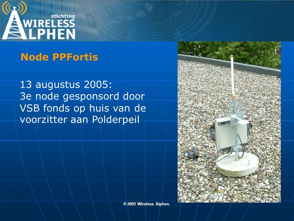 © 2005 Wireless Alphen. 4e node HWFortis komt te Staan aan de Heimanswetering Node HWFortis
