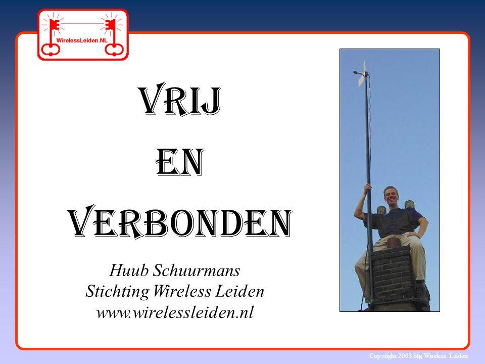 Copyright 2003 Stg Wireless Leiden Razendsnelle ontwikkelingen in de ICT Rekenkracht van computer-chips Snelheid van gegevensuitwisseling (bandbreedte) Capaciteit van opslagsystemen Verdubbeling elke 1 – 2 jaar !