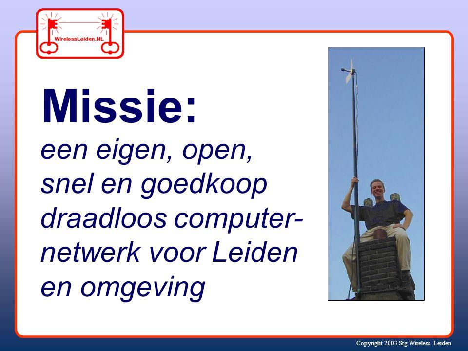 Copyright 2003 Stg Wireless Leiden Jasper Koolhaas Huub Schuurmans Marten Vijn.... en anderen.... Stichting Wireless Leiden AD 2002