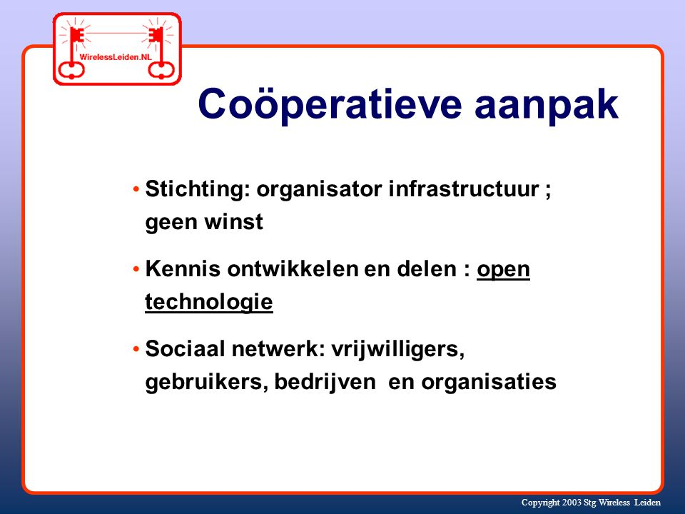 Copyright 2003 Stg Wireless Leiden Basis netwerkstructuur real time op www.wirelessleiden.nl