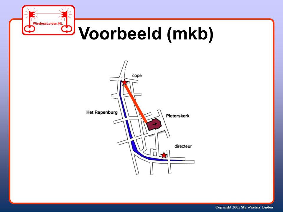 Copyright 2003 Stg Wireless Leiden Wie doen er mee? bedrijven (mkb) spinoffs (starters) Internet Providers kerken gebruikers zorgcentra scholen ROC Un