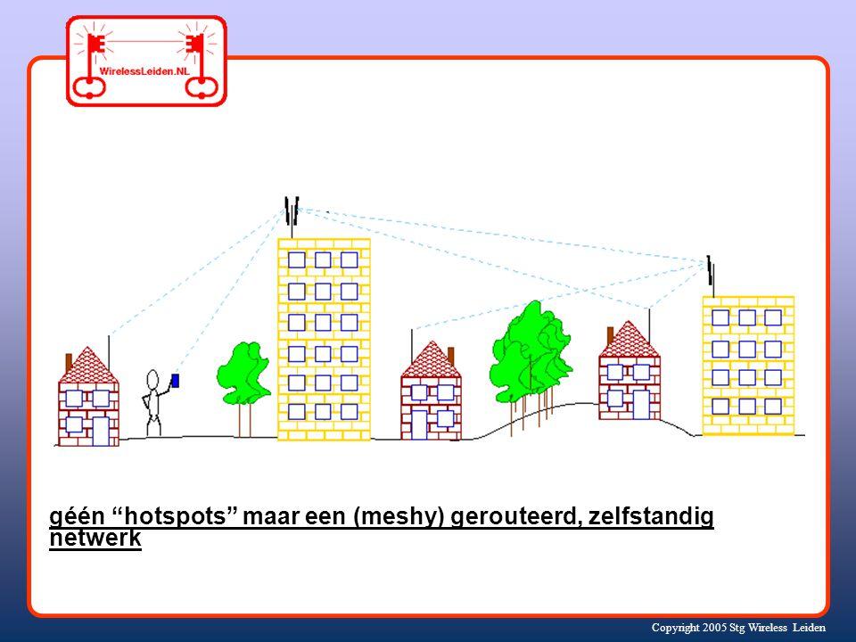 Copyright 2005 Stg Wireless Leiden géén hotspots maar een (meshy) gerouteerd, zelfstandig netwerk