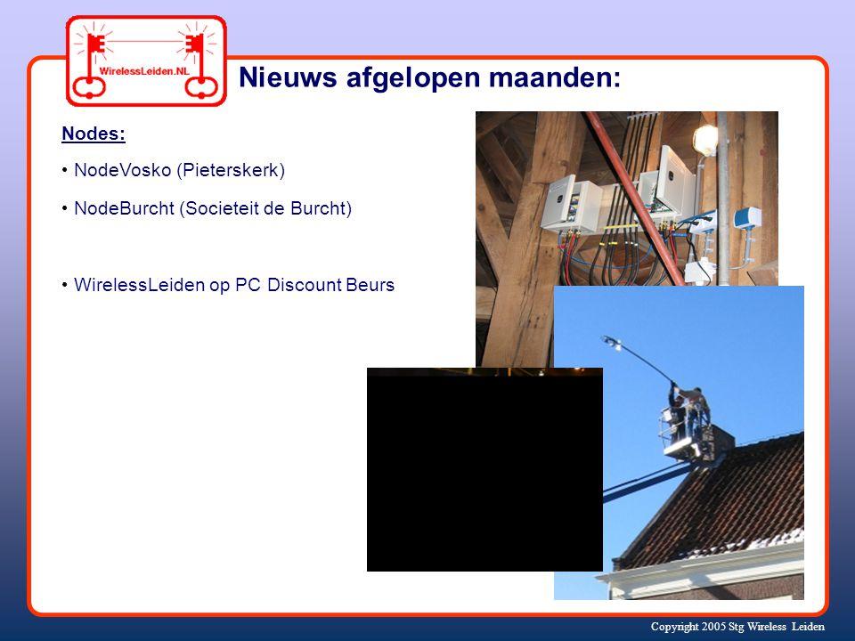 Copyright 2005 Stg Wireless Leiden Nieuws afgelopen maanden: Nodes: NodeVosko (Pieterskerk) NodeBurcht (Societeit de Burcht) WirelessLeiden op PC Discount Beurs