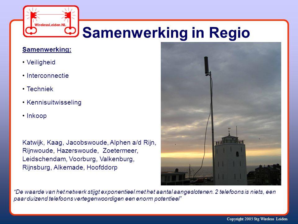 Copyright 2005 Stg Wireless Leiden Samenwerking: Veiligheid Interconnectie Techniek Kennisuitwisseling Inkoop Katwijk, Kaag, Jacobswoude, Alphen a/d Rijn, Rijnwoude, Hazerswoude, Zoetermeer, Leidschendam, Voorburg, Valkenburg, Rijnsburg, Alkemade, Hoofddorp Samenwerking in Regio De waarde van het netwerk stijgt exponentieel met het aantal aangeslotenen.