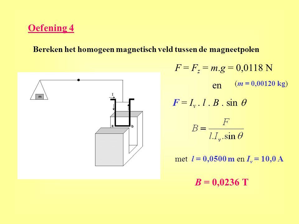 Oefening 4 Bereken het homogeen magnetisch veld tussen de magneetpolen F = F z = m.g = 0,0118 N F = I v. l. B. sin  en B = 0,0236 T met l = 0,0500 m