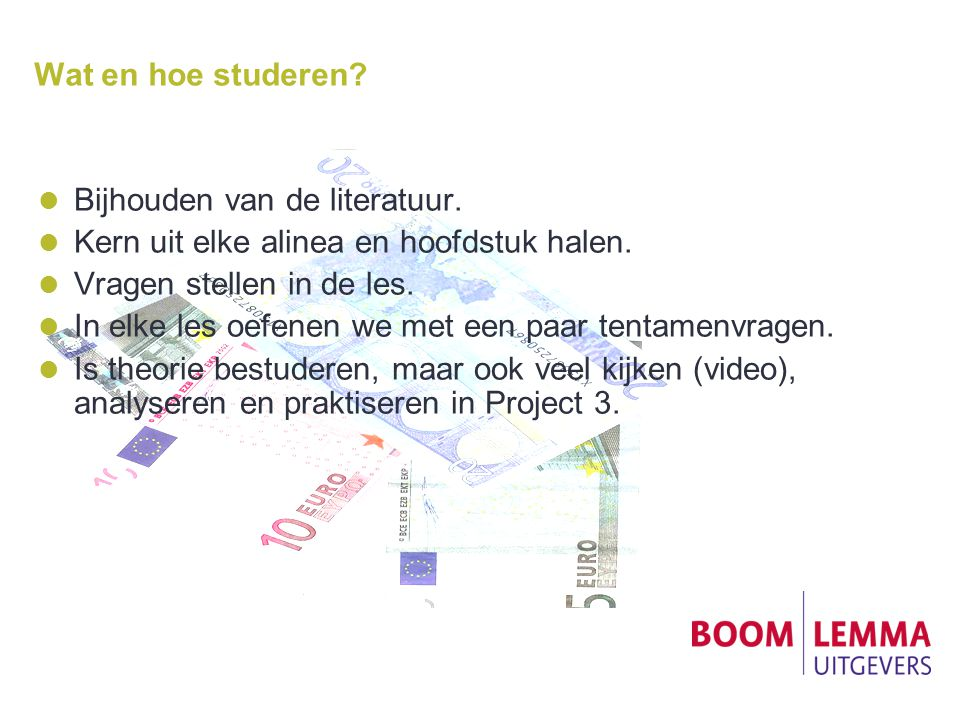 Wat en hoe studeren. Bijhouden van de literatuur.