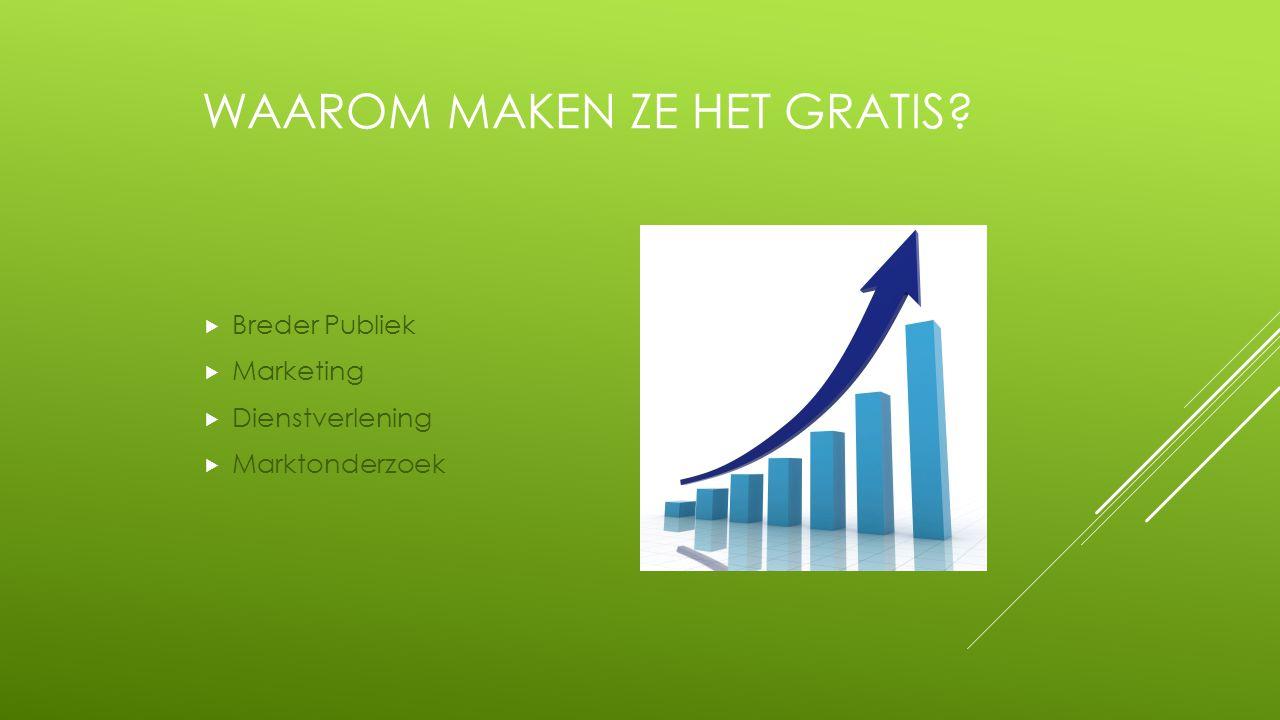 WAAROM MAKEN ZE HET GRATIS?  Breder Publiek  Marketing  Dienstverlening  Marktonderzoek