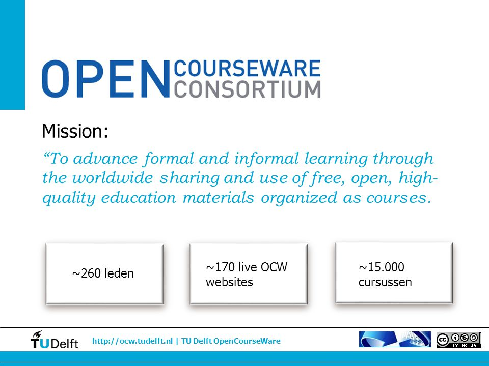 "http://ocw.tudelft.nl | TU Delft OpenCourseWare Mission: ""To advance formal and informal learning through the worldwide sharing and use of free, open,"