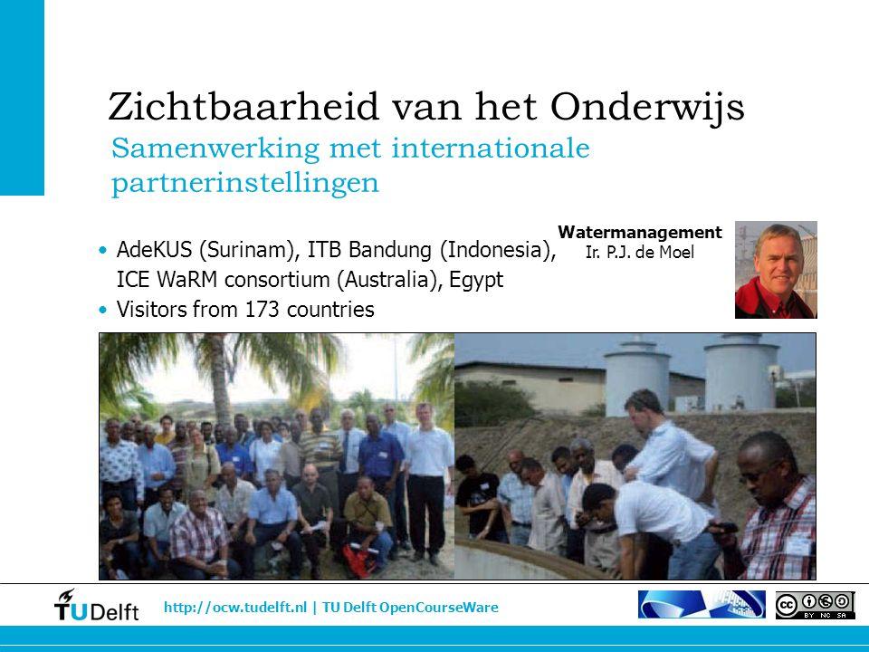 http://ocw.tudelft.nl | TU Delft OpenCourseWare Watermanagement Ir. P.J. de Moel Samenwerking met internationale partnerinstellingen Zichtbaarheid van