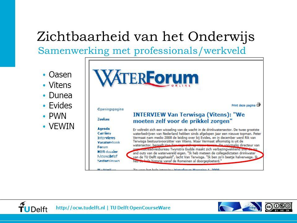 http://ocw.tudelft.nl | TU Delft OpenCourseWare Oasen Vitens Dunea Evides PWN VEWIN Samenwerking met professionals/werkveld Zichtbaarheid van het Onde