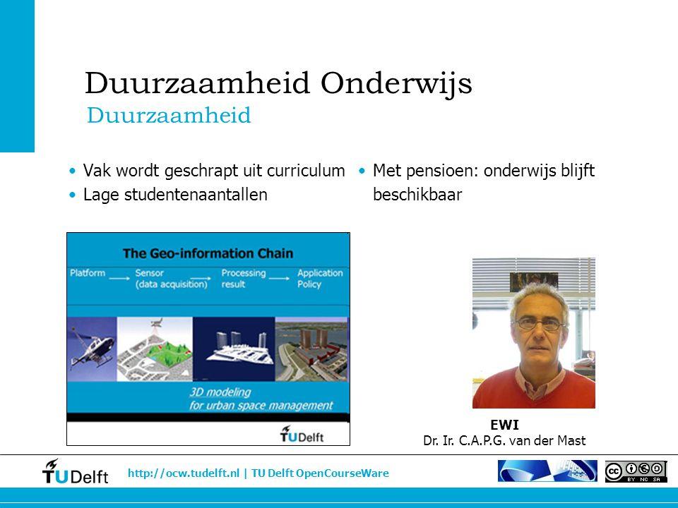 http://ocw.tudelft.nl | TU Delft OpenCourseWare Vak wordt geschrapt uit curriculum Lage studentenaantallen Met pensioen: onderwijs blijft beschikbaar