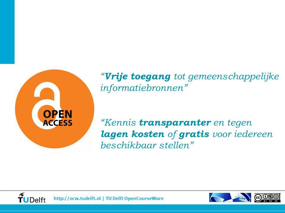 http://ocw.tudelft.nl | TU Delft OpenCourseWare Open content Vrij toegankelijk materiaal in brede zin OER/open leermiddelen Vrij toegankelijk onderwijsmateriaal OpenCourseWare Vrij toegankelijk onderwijsmateriaal, Gearrengeerd Open Content Open Educational Resources OCW