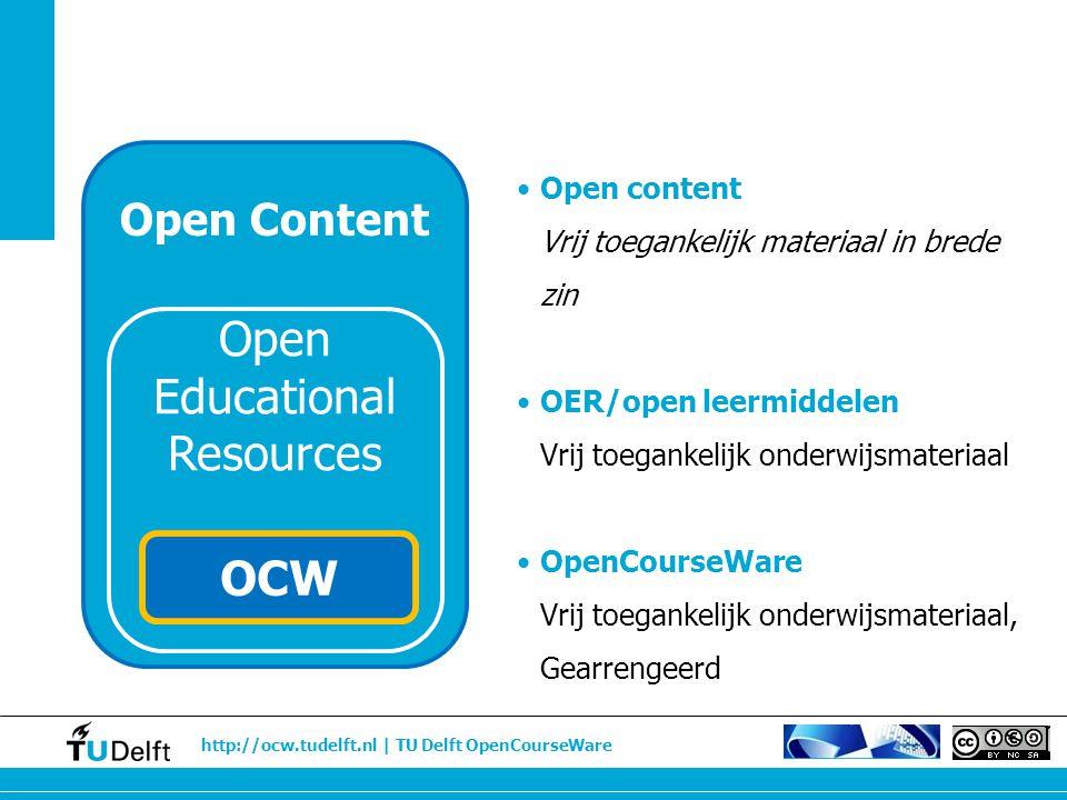 http://ocw.tudelft.nl | TU Delft OpenCourseWare Open content Vrij toegankelijk materiaal in brede zin OER/open leermiddelen Vrij toegankelijk onderwij