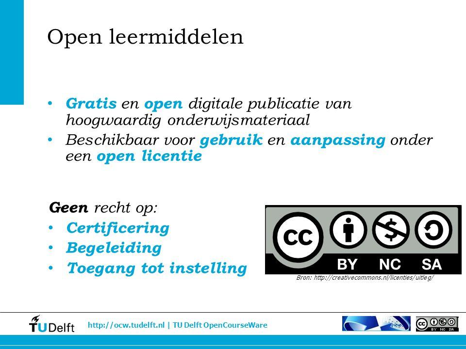 http://ocw.tudelft.nl | TU Delft OpenCourseWare Gratis en open digitale publicatie van hoogwaardig onderwijsmateriaal Beschikbaar voor gebruik en aanp