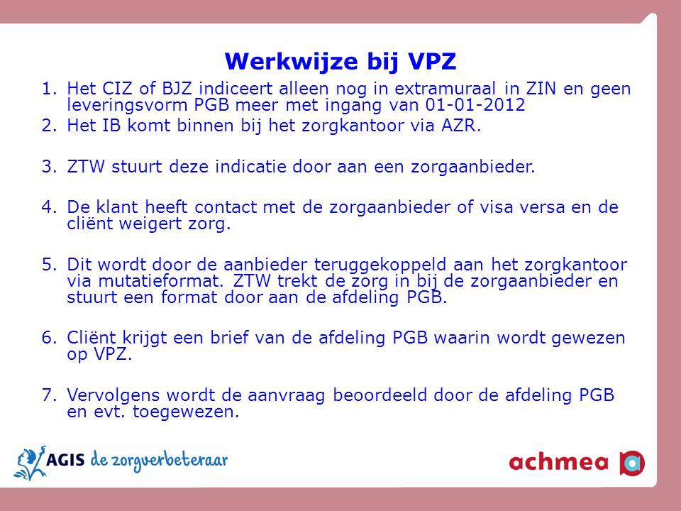 Werkwijze bij VPZ 1.Het CIZ of BJZ indiceert alleen nog in extramuraal in ZIN en geen leveringsvorm PGB meer met ingang van 01-01-2012 2.Het IB komt b