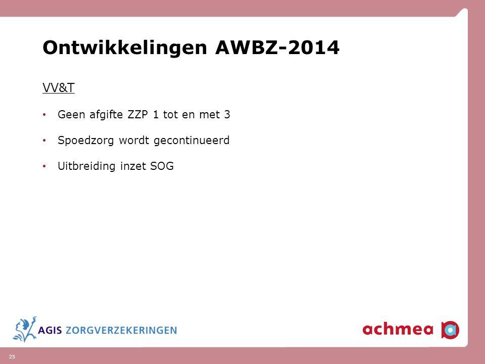 25 Ontwikkelingen AWBZ-2014 VV&T Geen afgifte ZZP 1 tot en met 3 Spoedzorg wordt gecontinueerd Uitbreiding inzet SOG