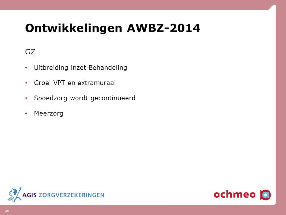 26 Ontwikkelingen AWBZ-2014 GZ Uitbreiding inzet Behandeling Groei VPT en extramuraal Spoedzorg wordt gecontinueerd Meerzorg