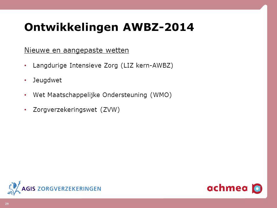 29 Ontwikkelingen AWBZ-2014 Nieuwe en aangepaste wetten Langdurige Intensieve Zorg (LIZ kern-AWBZ) Jeugdwet Wet Maatschappelijke Ondersteuning (WMO) Z