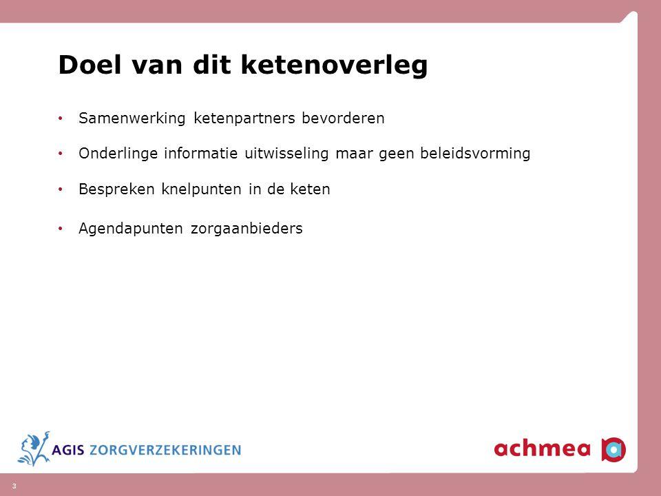 3 Doel van dit ketenoverleg Samenwerking ketenpartners bevorderen Onderlinge informatie uitwisseling maar geen beleidsvorming Bespreken knelpunten in