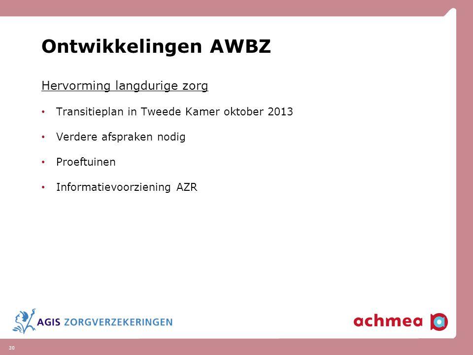 30 Ontwikkelingen AWBZ Hervorming langdurige zorg Transitieplan in Tweede Kamer oktober 2013 Verdere afspraken nodig Proeftuinen Informatievoorziening