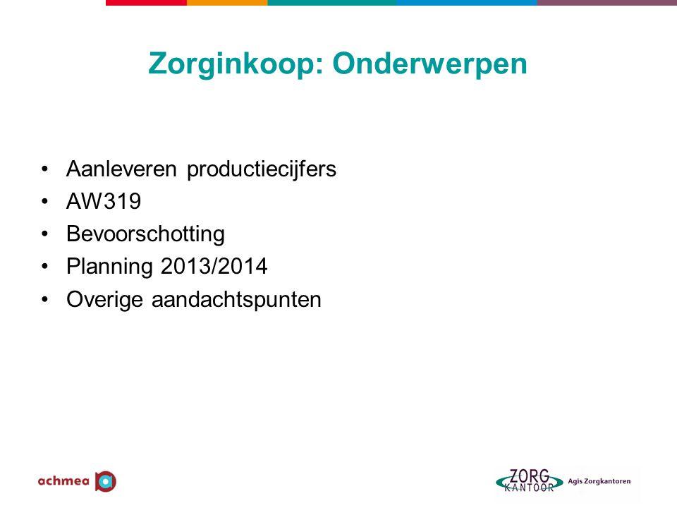 Zorginkoop: Onderwerpen Aanleveren productiecijfers AW319 Bevoorschotting Planning 2013/2014 Overige aandachtspunten