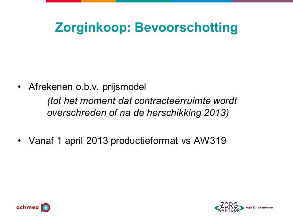 Zorginkoop: Bevoorschotting Afrekenen o.b.v. prijsmodel (tot het moment dat contracteerruimte wordt overschreden of na de herschikking 2013) Vanaf 1 a