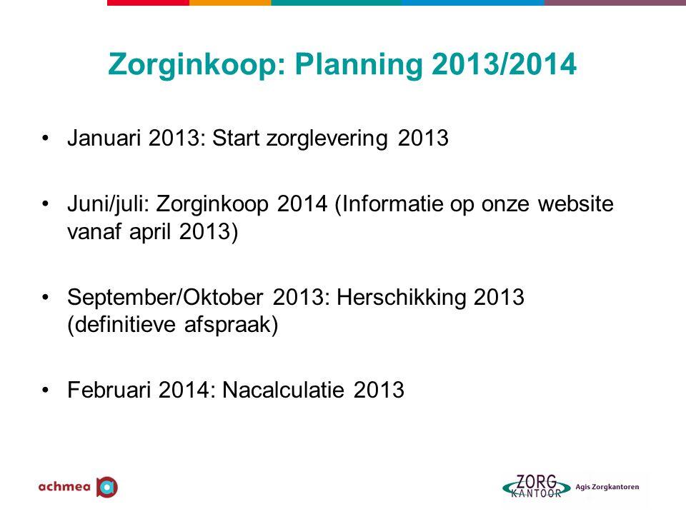 Zorginkoop: Planning 2013/2014 Januari 2013: Start zorglevering 2013 Juni/juli: Zorginkoop 2014 (Informatie op onze website vanaf april 2013) Septembe