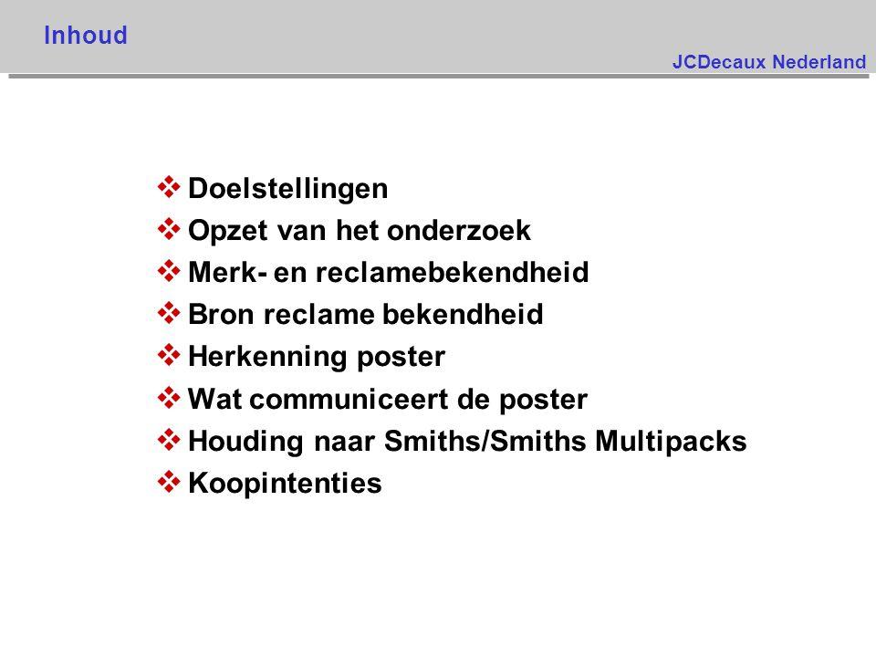 JCDecaux Nederland v Doelstellingen v Opzet van het onderzoek v Merk- en reclamebekendheid v Bron reclame bekendheid v Herkenning poster v Wat communiceert de poster v Houding naar Smiths/Smiths Multipacks v Koopintenties Inhoud