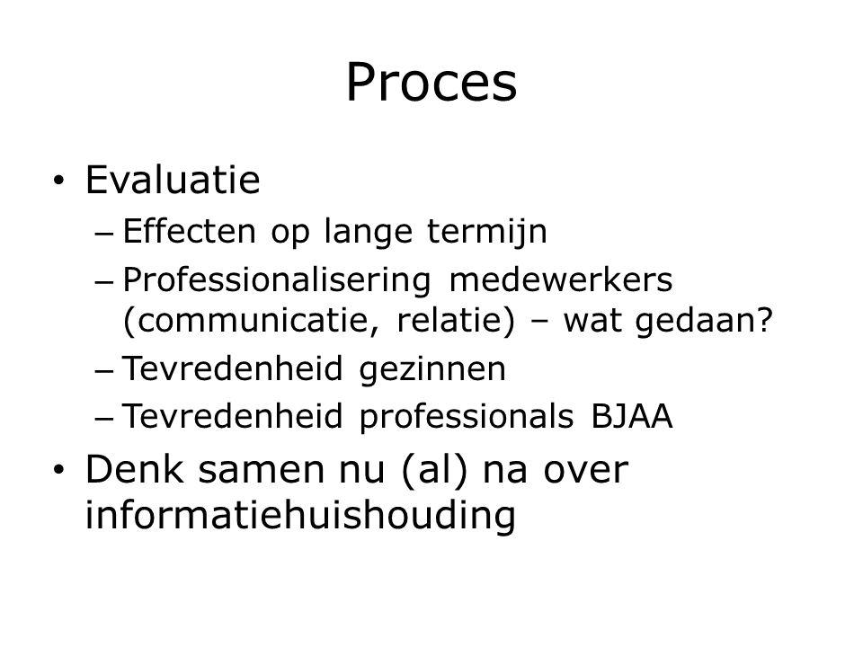 Proces Evaluatie – Effecten op lange termijn – Professionalisering medewerkers (communicatie, relatie) – wat gedaan.