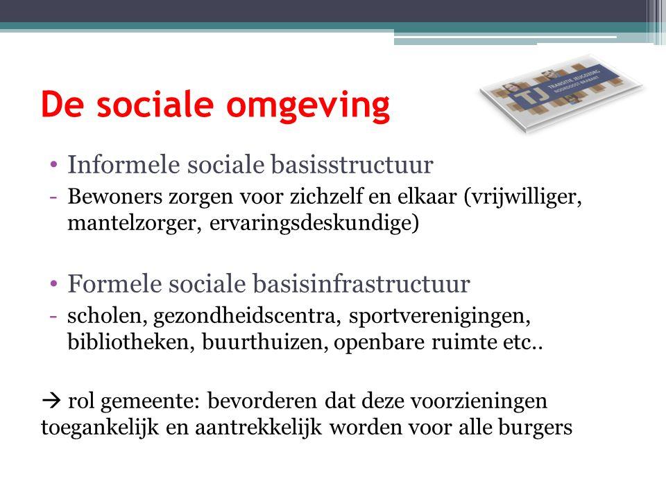 De sociale omgeving Informele sociale basisstructuur -Bewoners zorgen voor zichzelf en elkaar (vrijwilliger, mantelzorger, ervaringsdeskundige) Formel