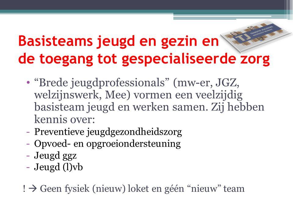 """Basisteams jeugd en gezin en de toegang tot gespecialiseerde zorg """"Brede jeugdprofessionals"""" (mw-er, JGZ, welzijnswerk, Mee) vormen een veelzijdig bas"""