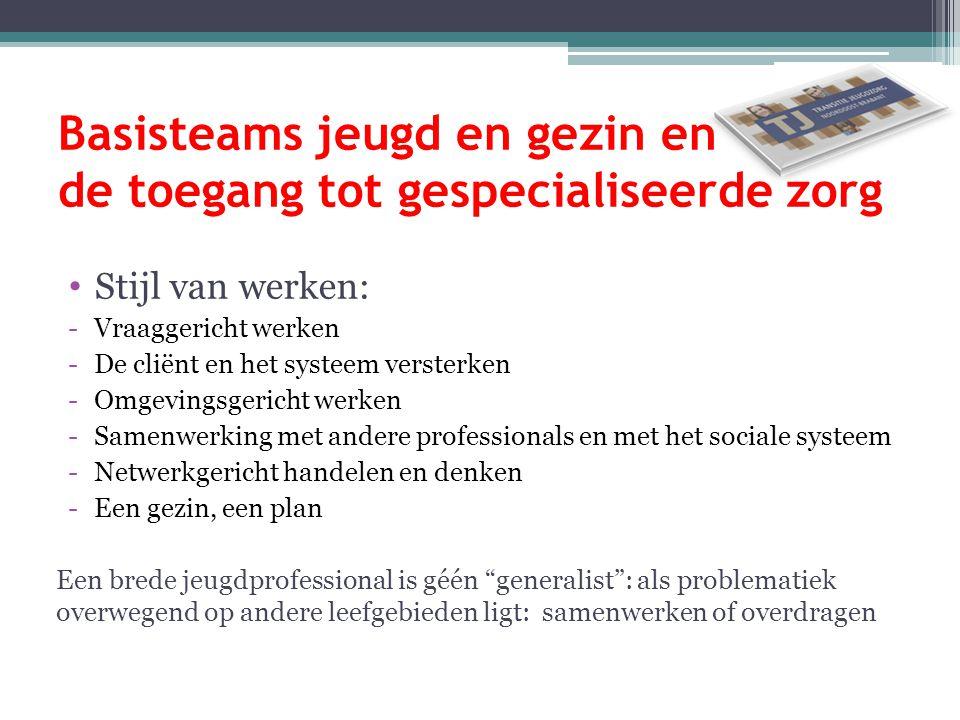 Basisteams jeugd en gezin en de toegang tot gespecialiseerde zorg Stijl van werken: -Vraaggericht werken -De cliënt en het systeem versterken -Omgevin