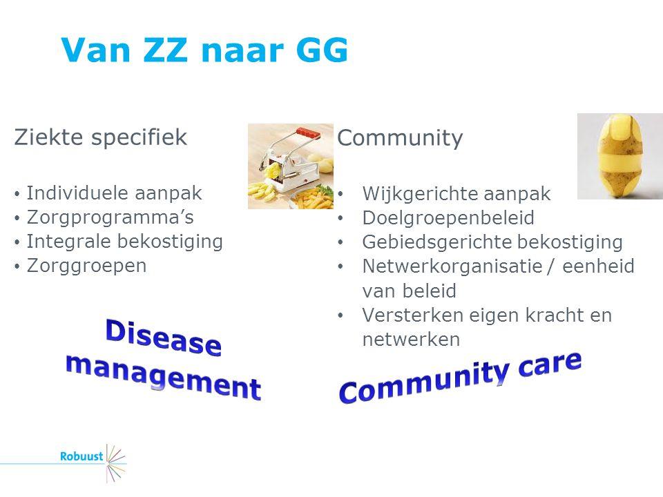 Van ZZ naar GG Ziekte specifiek Individuele aanpak Zorgprogramma's Integrale bekostiging Zorggroepen Community Wijkgerichte aanpak Doelgroepenbeleid G