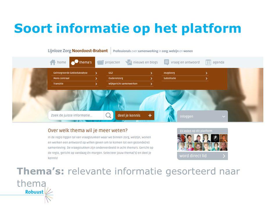 Soort informatie op het platform Thema's: relevante informatie gesorteerd naar thema