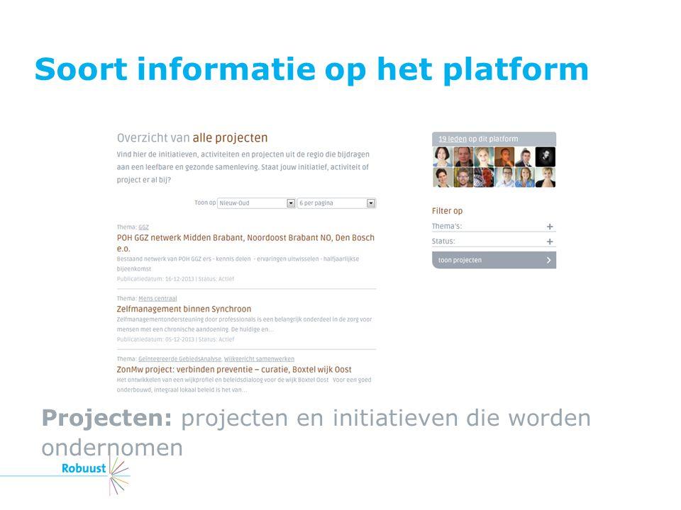 Soort informatie op het platform Projecten: projecten en initiatieven die worden ondernomen