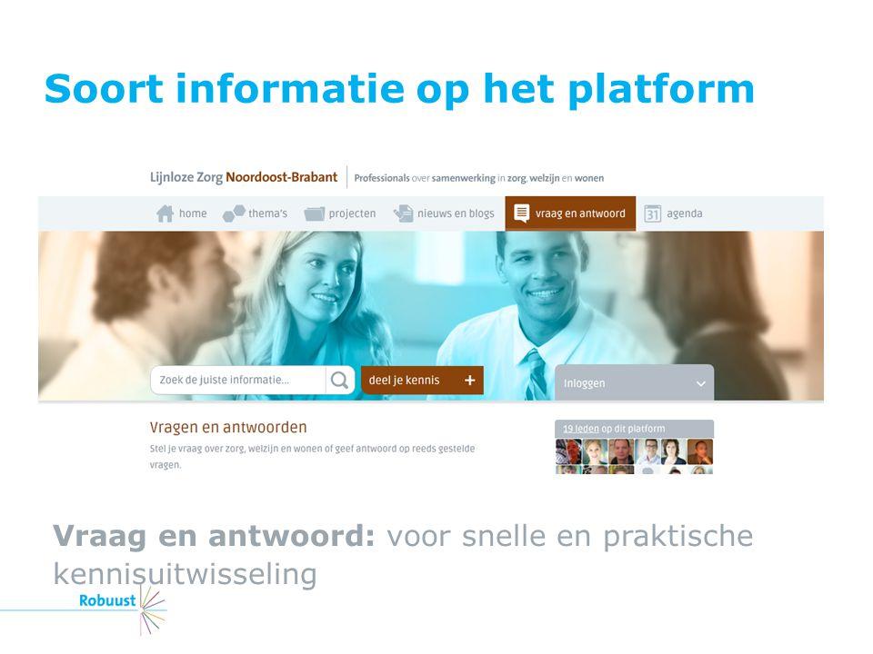 Soort informatie op het platform Vraag en antwoord: voor snelle en praktische kennisuitwisseling