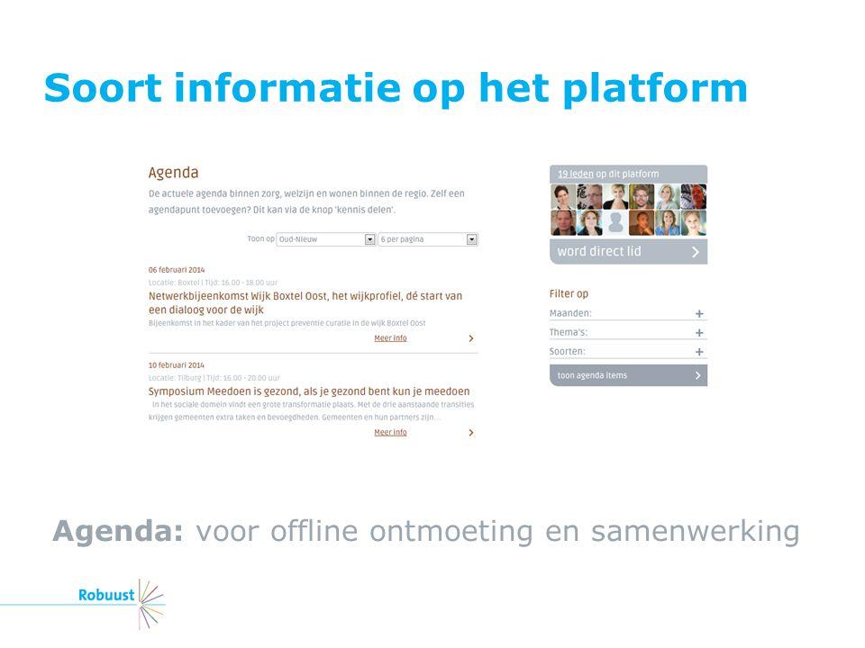 Soort informatie op het platform Agenda: voor offline ontmoeting en samenwerking
