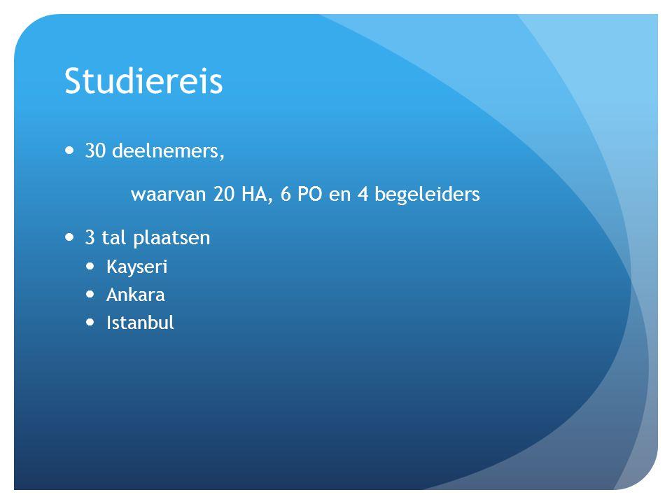 Studiereis 30 deelnemers, waarvan 20 HA, 6 PO en 4 begeleiders 3 tal plaatsen Kayseri Ankara Istanbul