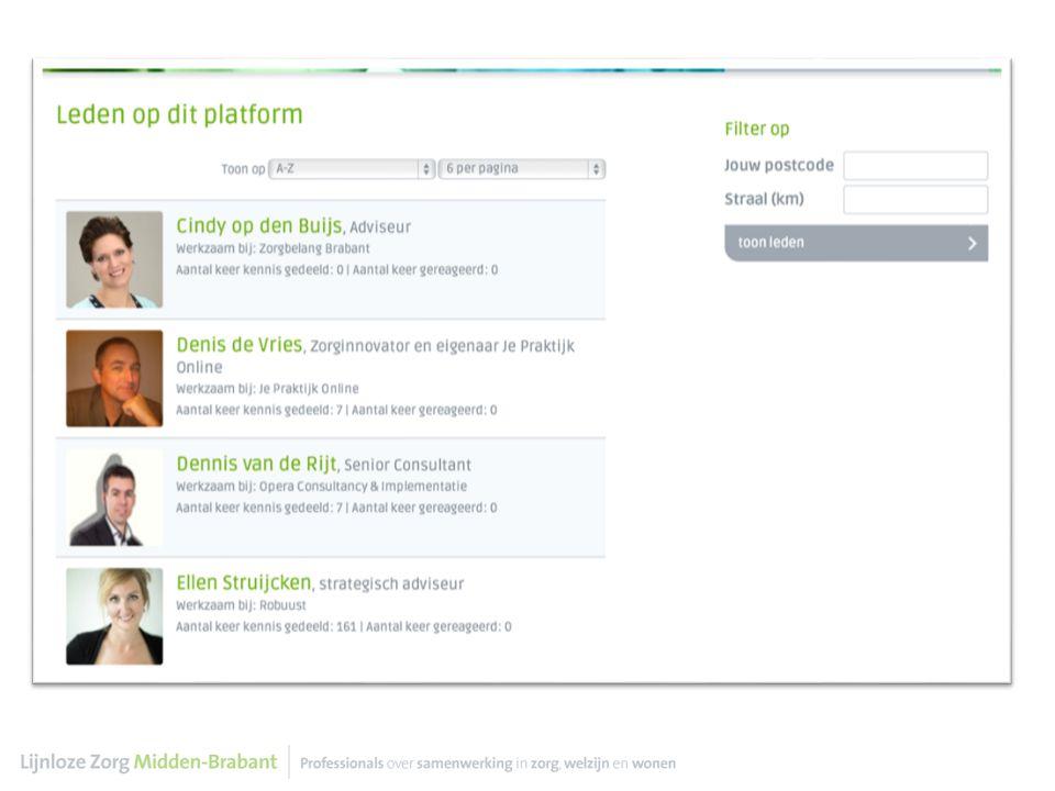 lijnlozezorg.nl elkaars visie leren kennen, ontmoeten, informatie uitwisselen, kennis delen, vragen stellen, antwoorden vinden, discussiëren, inzicht in elkaars projecten